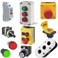 Intrerupatoare/butoane comanda, selectoare, lampi semnalizare, cutii si auxiliare