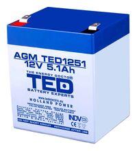 Acumulator TED, 12V, negru, 5.1A, F2/T2
