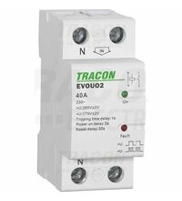 Releu de recuplare automata Tracon, la supra/subtensiune, 40A, 2P, 1sec/30sec, 230VAC