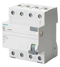 Disjunctor cu protectie diferentiala trifazica Siemens, 40A, 30mA, curba C, tip AC, 10KA